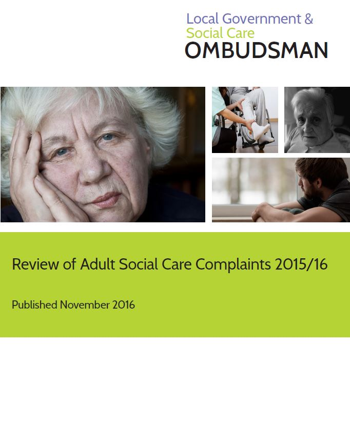 Front cover of the annual review of adult social care complaints 2015-16