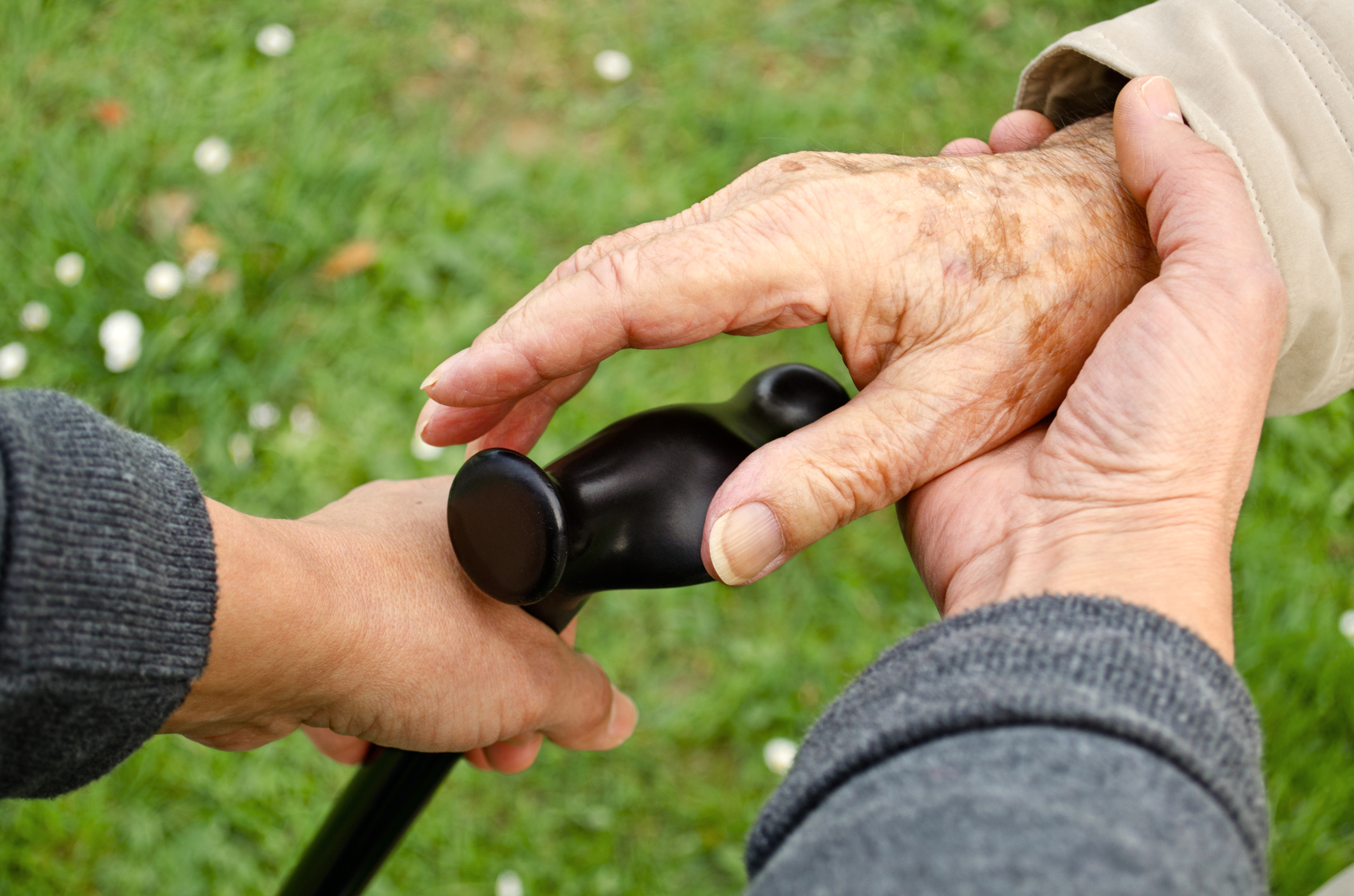 PIC - Senior hands with walking stick