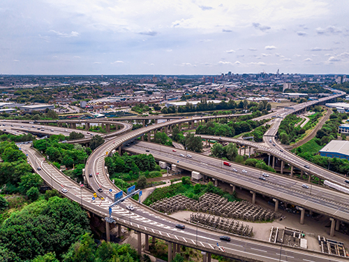 PIC - aerial view of spaghetti junction in Birmingham